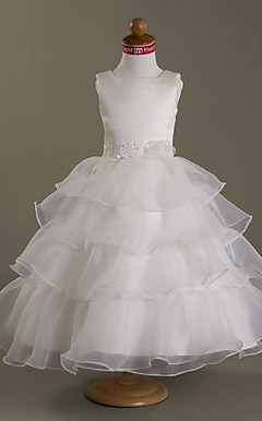 Ball Gown Square Tea-length Satin  Organza Flower Girl Dress