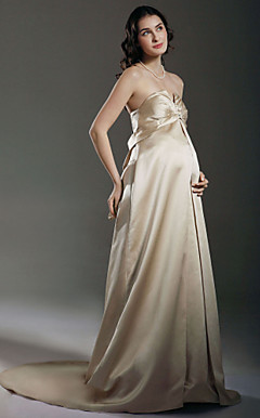 Sheath/ Column Empire Sweetheart Court Train Satin Maternity Wedding Dress