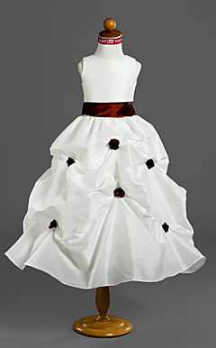 Ball Gown Jewel Tea-length Taffeta Flower Girl Dress