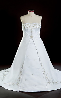 A-line Strapless Chapel Train Satin Plus Size Wedding Dress