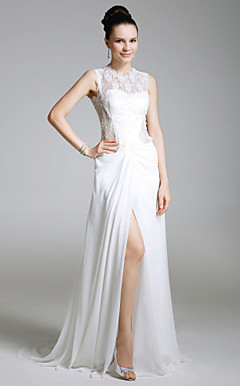 Sheath/Column Jewel Sweep/Brush Train Lace And Chiffon Evening Dress inspired by Eva La Rue at Golden Globe