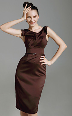 Stretch Satin Sheath/Column Knee-length Cocktail Dress