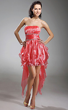 A-line Strapless Asymmetrical Organza Cocktail Dress