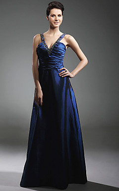 Taffeta A-line V-neck Floor-length Evening Dress inspired by Adrienne Frantz at Emmy Award