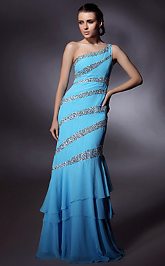Chiffon/ Stretch Satin Trumpet/ Mermaid One Shoulder Floor-length Beading Evening Dress inspired by Grammy