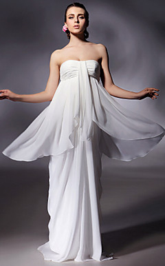 Chiffon Sheath/Column Strapless Floor-length Evening Dress inspired by Luciana Damon at Oscar