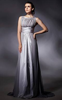 Stretch Satin Chiffon Sheath/Column Sweep Train Evening Dress inspired by Jane Adams at Golden Globe