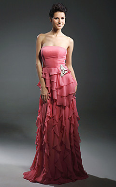 Chiffon Sheath/ Column Strapless Floor-length Evening Dress inspired by Fan Bingbing at Cannes Film Festival