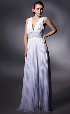 Chiffon Sheath/ Column V-neck Floor-length Evening Dress inspired by Doutzen Kroes at Cannes Film Festival