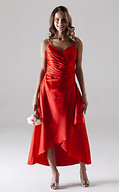 A-line Spaghetti Straps Asymmetrical Stretch Satin Bridesmaid/Wedding Party Dress