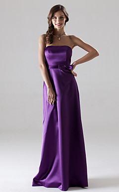 Sheath/Column Strapless Floor-length Stretch Satin Bridesmaid/Wedding Party Dress