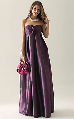 Empire Strapless Floor-length Taffeta Bridesmaid/ Wedding Party Dress