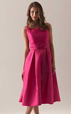 A-line Square Tea-length Taffeta Bridesmaid/ Wedding Party Dress