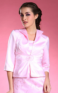 3/4-length Satin Special Occasion Jacket/ Wedding Wrap