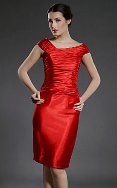 Sheath/Column Off-the-shoulder Knee-length Stretch Satin Mother of the Bride Dress