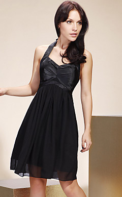 A-line Halter Knee-length Stretch Satin And Chiffon Bridesmaid/ Wedding Party/ Homecoming Dress