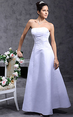 A-line Strapless Floor-length Satin Wedding Dress