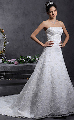 A-line/Princess Strapless Court Train Lace Over Satin Wedding Dress