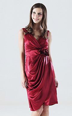 Sheath/Column V-neck Knee-length Stretch Satin Bridesmaid Dress
