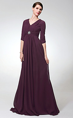Chiffon Elastic Woven Satin Sheath/Column V-neck Sweep/Brush Train Evening Dress inspired by Elizabeth Perkins