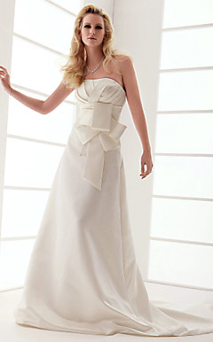 A-line Strapless Court Train Taffeta Wedding Dress