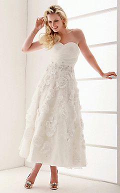 A-line Sweetheart Ankle-length Organza Wedding Dress