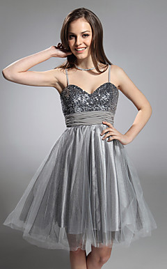 PATSY - Robe de Cocktail Taffetas à Sequins Tulle