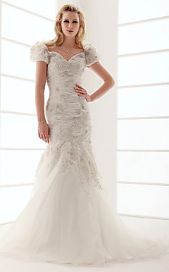 Trumpet/Mermaid V-neck Sweep/Brush Train Wedding Dress