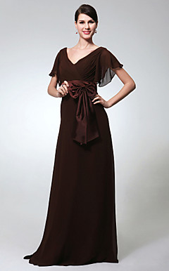Sheath/Column V-neck Short Sleeve Floor-length Chiffon Evening Dress