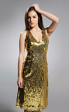 Sheath/Column V-neck Knee-length Sequined Fabric Cocktail/Homecoming Dress