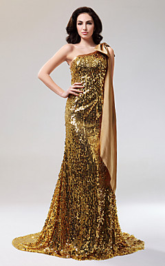 Sheath/Column One Shoulder Court Train Sequined And Stretch Satin Evening Dress