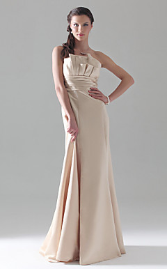 A-line Strapless Empire Floor-length Satin Bridesmaid Dress