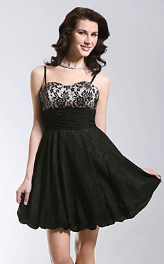 A-line Short/Mini Chiffon/Lace Homecoming/Cocktail Dress
