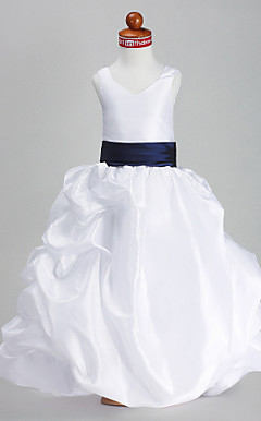 Ball Gown V-neck Floor-length Taffeta Flower Girl Dress