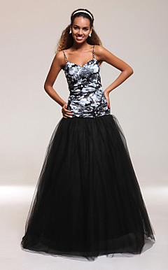 A-line Spaghetti Straps Floor-length Satin Tulle Print Evening Dress