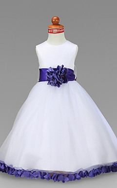 A-line Ankle-length Satin Flower Girl Dress