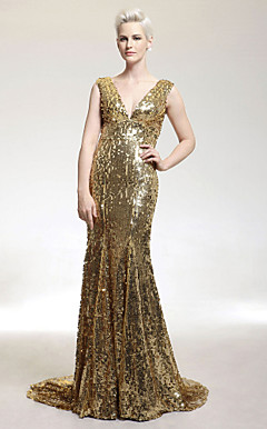 Trumpet/Mermaid V-neck Sweep/Brush Train Sequined Evening Dress inspired by Kellie Pickler