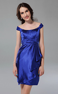 Sheath/Column Off-the-shoulder Short/Mini Stretch Satin Bridesmaid Dress