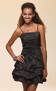 A-line Spaghetti Straps Short/Mini Taffeta Cocktail Dress