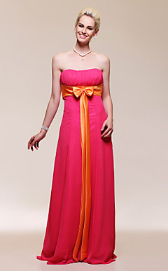 Sheath/ Column Strapless Floor-length Chiffon Bridesmaid/ Evening Dress