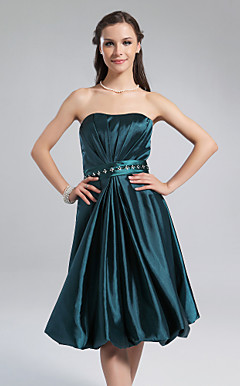 A-line Strapless  Knee-length Stretch Satin Bridesmaid Dress