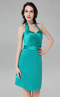 Sheath/ Column Halter Knee-length Stretch Satin Bridesmaid Dress