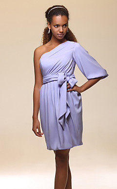 Sheath/Column One Shoulder Knee-length Charmeuse Cocktail Dress Inspired by Selena Gomez