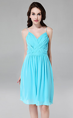 Sheath/ Column Spaghetti Straps V-neck Knee-length Chiffon Bridesmaid Dress