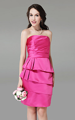 Sheath/ Column Strapless Knee-length Tiered Satin Bridesmaid Dress