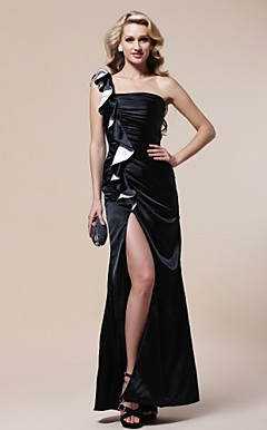 Sheath/ Column One Shoulder Floor-length Stretch Satin Evening Dress