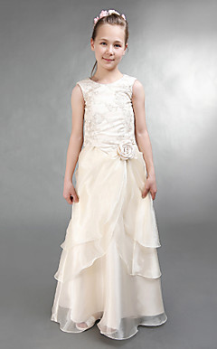 A-line Jewel Floor-length Taffeta Organza Junior Bridesmaid Dress