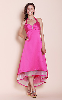 A-line Halter Asymmetrical Satin Bridesmaid Dress