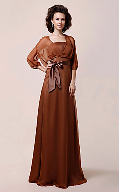 A-line Strapless Floor-length Chiffon Mother of the Bride Dress With A Wrap
