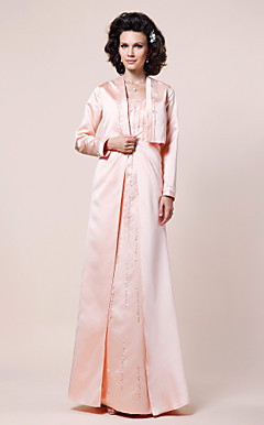 A-line Straps Floor-length Satin Mother of the Bride Dress With A Wrap